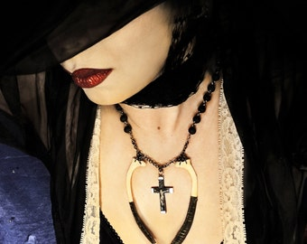 Real Bone Necklace with Vintage Crucifix and Recycled Black Rosary Beads Goth Sexy