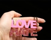 Custom Laser Cut Two Word Necklace (1-7 Letters Each)