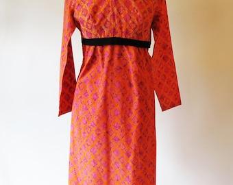 Vintage 60s Orange Dress, Cotton Empire Waist Long Sleeve Shift