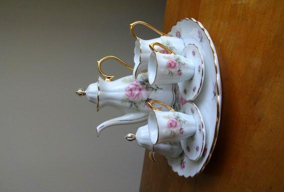 Vintage Victorian Miniature Rose Tea Set Tea For Two
