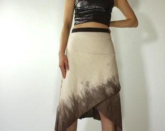 Asymmetrical Wrap Skirt dress beige and brown maxi skirt a line skirt tie dye skirt resort skirt spa skirt yoga skirt long skirt on sale