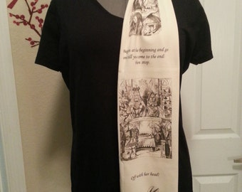 Alice in Wonderland KNIT scarf - Regular style - made to order