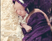 Crochet Cabled Pixie Bonnet - Newborn Photography Prop - You Choose Color