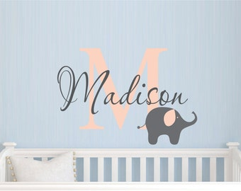 Childrens Name Elephant Wall Decal - Girls Name Vinyl Wall Decal - Baby Nursery Wall Decal - Elephant Vinyl Wall Art