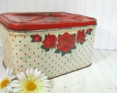 Rustic Metal Red Roses Decorated Bread Box - Vintage Chippy Paint Litho Bin - Crusty Rusty Shabby Chic Tin