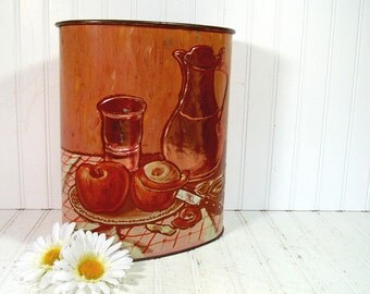 Lovely Old Rustic Copper Embossed Metal Oval Waste Can - Vintage Weibro Relief Lithograph Bin - Shabby Chic Trash Basket