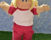 """Cabbage Patch Doll Clothes - Handmade for 16"""" - 18"""" Girl Dolls - Pink Sweats Outfit"""