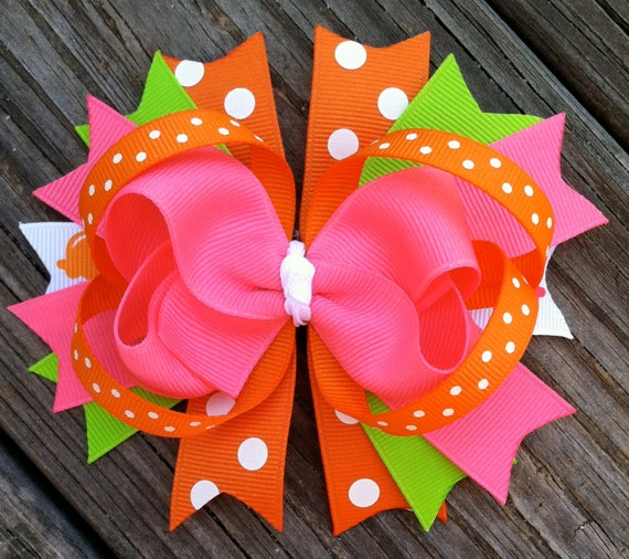 SUMMER HAIR Bow Boutique Style Bright Summer Hair Bow with Hot Pink ...