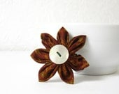 RESERVED - Kanzashi Flower Hair Clip Brownish Red