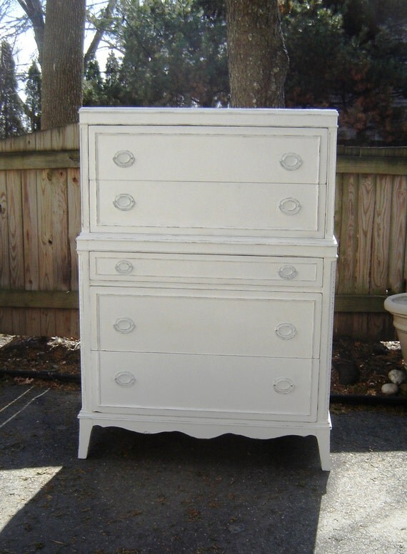 Vintage Tall Dresser White Shabby Chic By Seasidefurnitureshop
