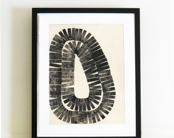 "Architectural. Minimalist . Black and White Etching Print: Lath . Print Size 15"" x 19"". Unframed"