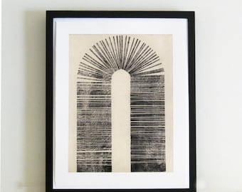 "TAKE 50% off ... Use code SALE50 @ checkout. Original Etching . Minimalist . Architectural : ""Vault"" . Print Size 14"" x 18"" . Unframed"