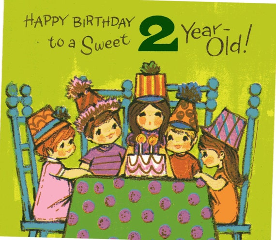 Items Similar To Vintage Birthday Card For Two/ 2 Year Old