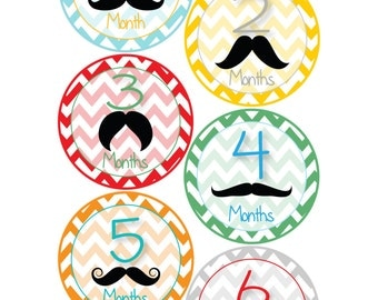 Monthly Bodysuit Stickers - Mustache & Chevron - Baby Shower or New Mom gift -For babies 1-12 months