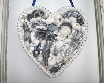 Blue and White Seashell Heart