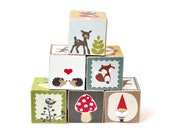 RESERVED for Sarah Younce Hedgehog and Woodland Creatures Wooden Blocks