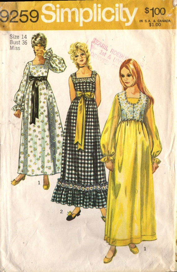 1970s MISSES DRESS and BOLERO  - Size 14 - Vintage Simplicity 9259  - Optional Bolero  -  Hippie - Boho - Ren  Fair  - Prom  -  Gently Used