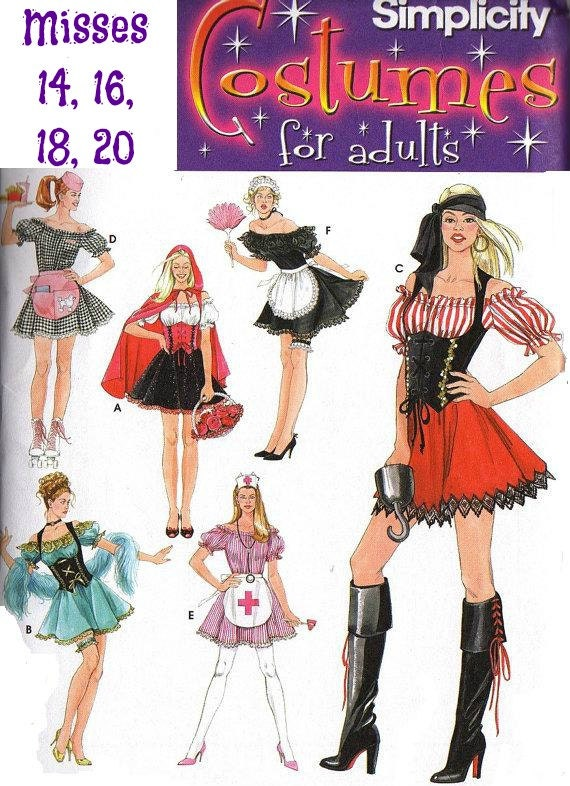 WOMEN'S PLUS SIZE - Sexy Costume - Red Riding Hood, Pirate, Fr. Maid,  Simplicity  3618  Circa  2007  Unused  Pattern