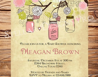 Delightful Vintage Baby Shower Invitation, Vintage Mason Jars Baby Shower Invitation,  Girl, Vintage Baby