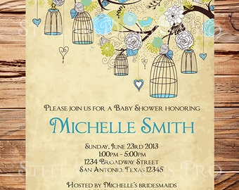 Vintage Baby Shower Invitation, Blue, Birdcages Baby Shower Invitation, Boy, Girl, Vintage Baby Shower Invite, Brown, Green, 1525