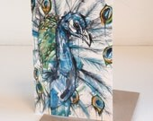 Peacock Art Card & Greeting Card Of Original Ink and Acrylic Painting With Matching Brown Recycled Envelope