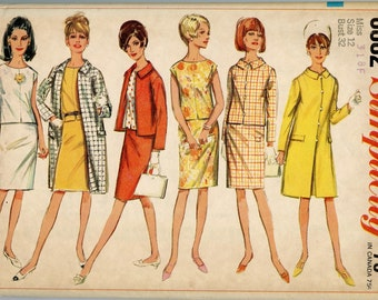 1960s Simplicity 6882 Vintage Sewing Pattern Misses' Coat, Jacket, Overblouse and Skirt Bust 32 UNCUT