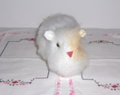 Guinea Pig Knit Toy White Furry Hand Knit