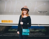 jade green leather crossbody bag // dark turquoise foldover clutch by rouge and whimsy
