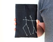 Personalized iPad mini case - Constellation - Zodiac - Hand embroidery - Linen - Hand embroidery - GalaBorn