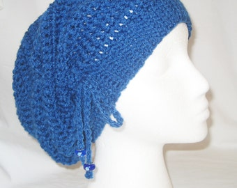 Crochet hat cinched slouchy in ocean blue made to fit teens and adults