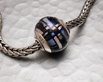 Big Hole Lampwork Glass Bead - Stained Glass Dichroic - Handmade SRA 4mm hole