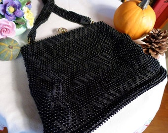 LADIES LUNCH--Adorable and Versatile Black 1950s Beaded Handbag--Medium Sized