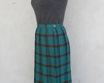 50s PLAID Skirt . High Waist Pleated Midi Skirt by Alex Colman