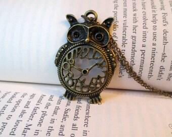Owl necklace- Large owl necklace-Clock owl necklace- Bird- Nature- Fashion necklace-Clock necklace
