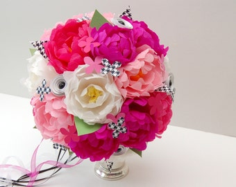 Wedding Bridal Paper Flower Bouquet - Pink and Houndstooth