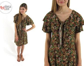 90s Floral Dress / Vintage Sailor Collar Dress / 90s Revival Dress / xs sm