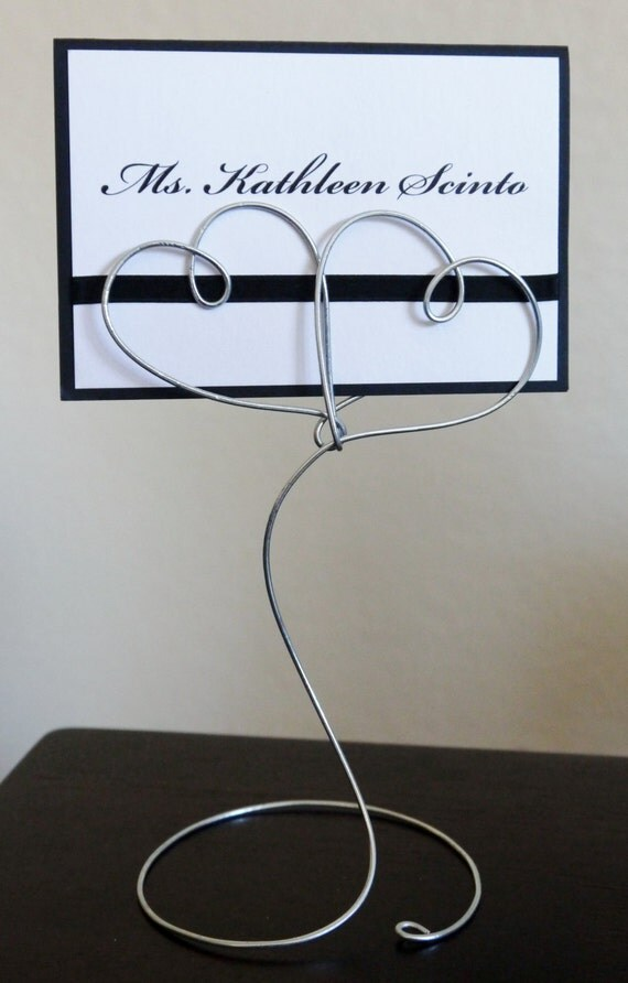 Standing wire double heart place card or table name holder for for Table number holders