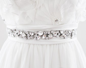 ANNETTE - Rhinestone Encrusted Bridal Sash, Wedding Belt