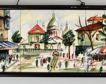 Vintage 1950's Montmarte Paris Signed Tile Art Triptych, Pigalle, Place du Terte, Mid Century Decor