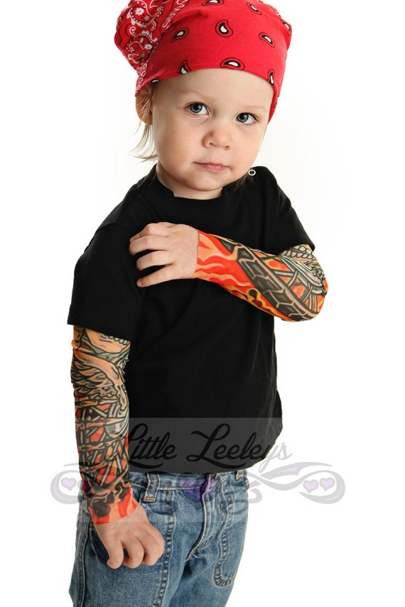tattoo sleeve biker black t shirt for babies and toddlers