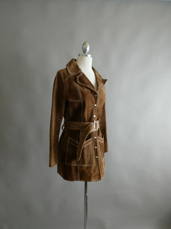 Original 70's Brown Suede Belted Trench Jacket