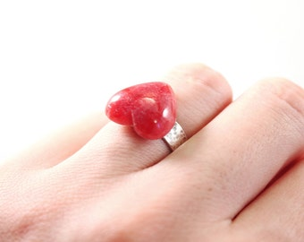 Sterling silver stone heart ring, red gemstone jewelry, rhodochrosite jewelry, natural stone adjustable ring, stone heart ring