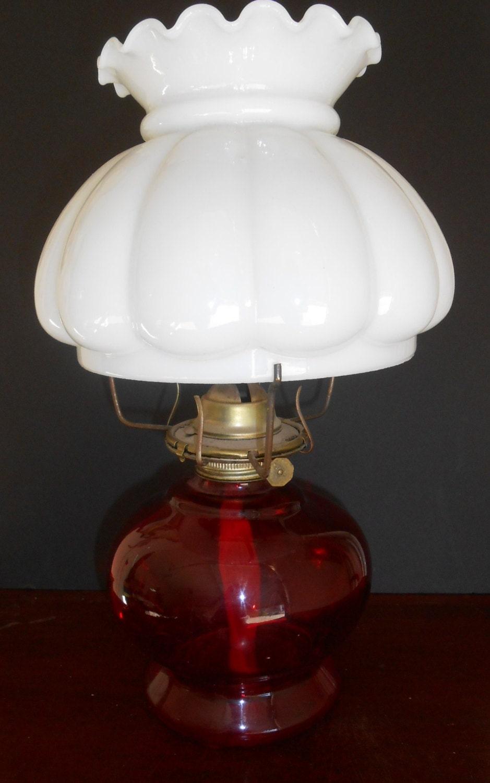 Vintage Oil Lamp Red Base Milk Glass Scalloped Globe Kerosene