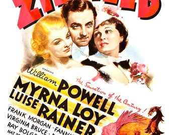 The Great Ziegfeld - Movie Musical Poster Print  -13x19 - Vintage Broadway Musical Poster - William Powell Myrna Loy