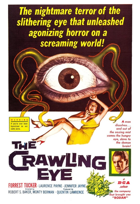 the crawling eye horror movie poster print