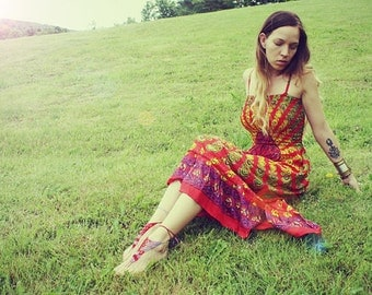 Handmade Valentine Hippie Dress, Long Bohemian Dress, Maxi, ECO Dress, Tapestry, Scarf Dress, Chakra, Bridesmaid Dress, Small