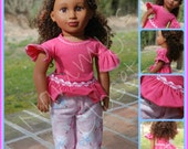 18 Inch Doll Clothes - Top  & Pajama pants