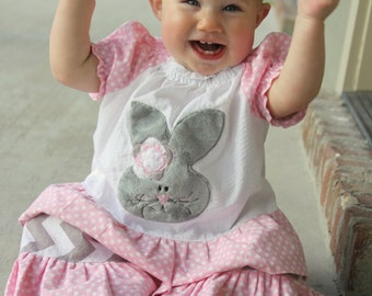Easter Bunny-White Plisse Peasant Top with Pink Dot Sleeves and Ruffle and Grey Chevron Pants with Pink Dot Ruffle
