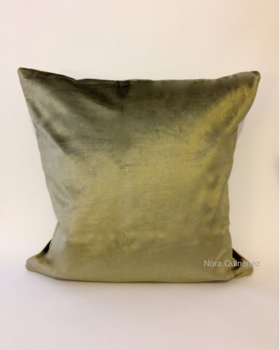 18x18 Olive Green Decorative Pillow Cover- Medium Weight Cotton Velvet - Invisible Zipper Closure