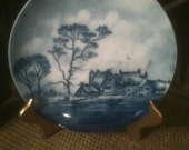 "SALE Antique Rosenthal Delft Blue 8"" Porcelain Plate with Hanger"